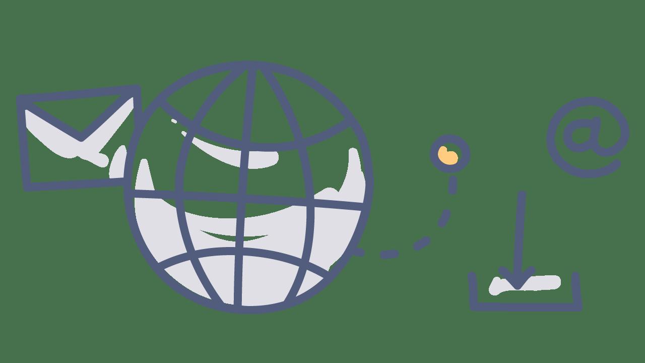 doodle of a globe, envelope, @ symbol