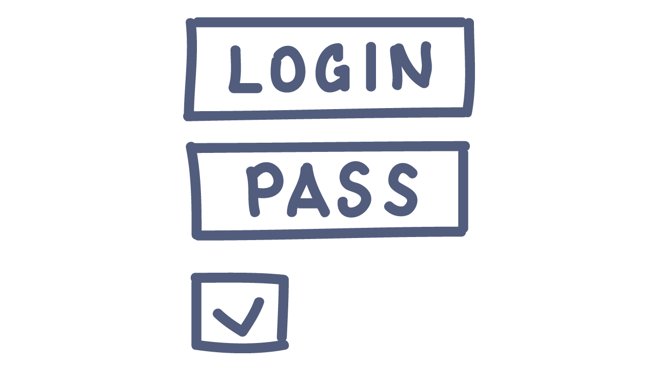 doodle of a login and password form