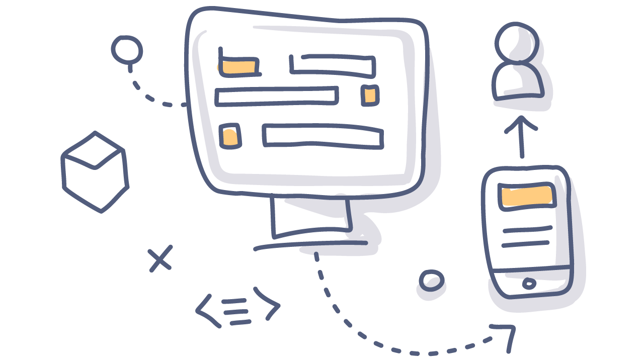 doodle of a computer, mobile device, and a person