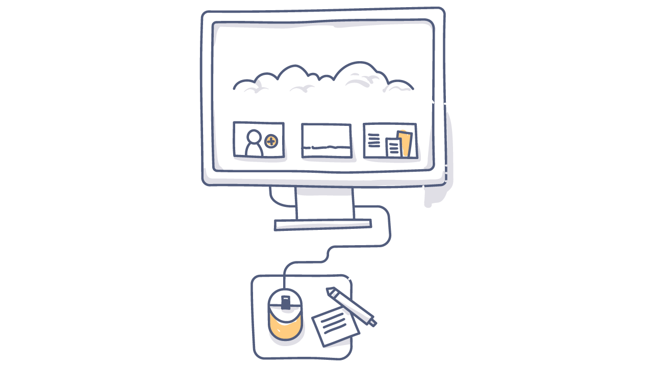 doodle of computer with a mouse