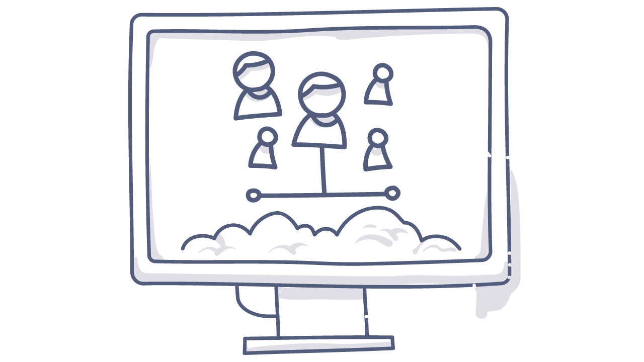 doodle of a computer with people on it